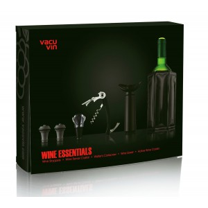Coffret WINE ESSENTIALS black édition de Vacuvin