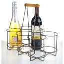 Porte bouteille - panier métal 6 bouteille